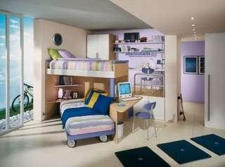 beliche quarto decorado com azul